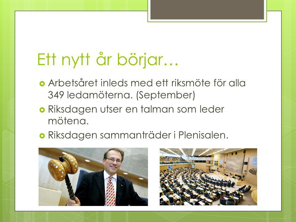 Ett nytt år börjar… Arbetsåret inleds med ett riksmöte för alla 349 ledamöterna. (September) Riksdagen utser en talman som leder mötena.