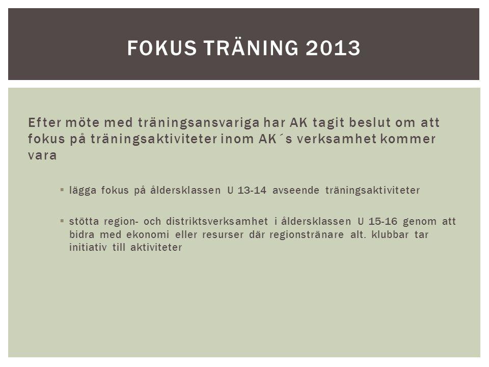 Fokus TRÄNING 2013 Efter möte med träningsansvariga har AK tagit beslut om att fokus på träningsaktiviteter inom AK´s verksamhet kommer vara.