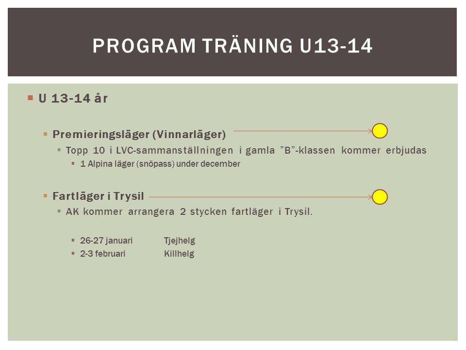 Program träning U13-14 U 13-14 år Premieringsläger (Vinnarläger)