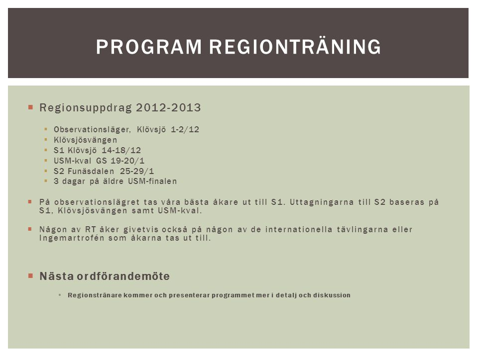 Program regionträning