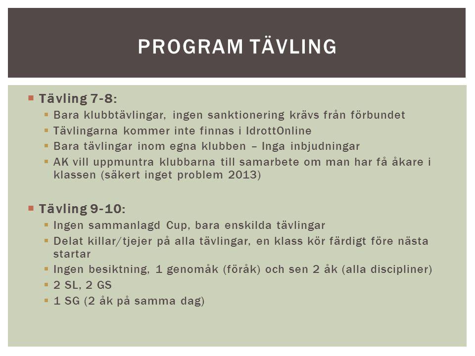 Program tävling Tävling 7-8: Tävling 9-10: