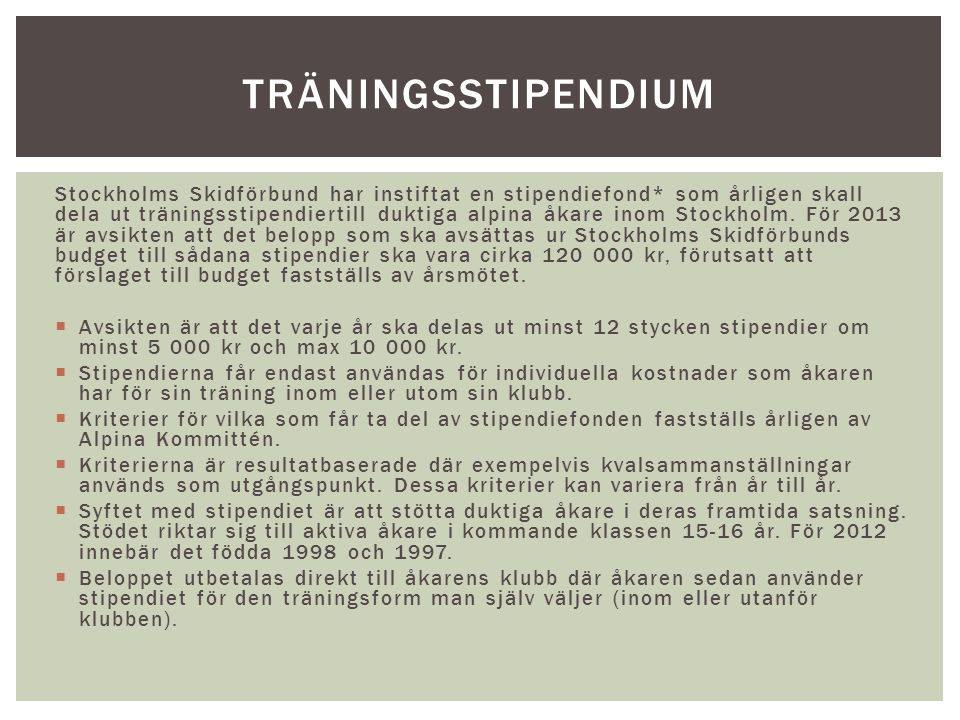 träningsstipendium