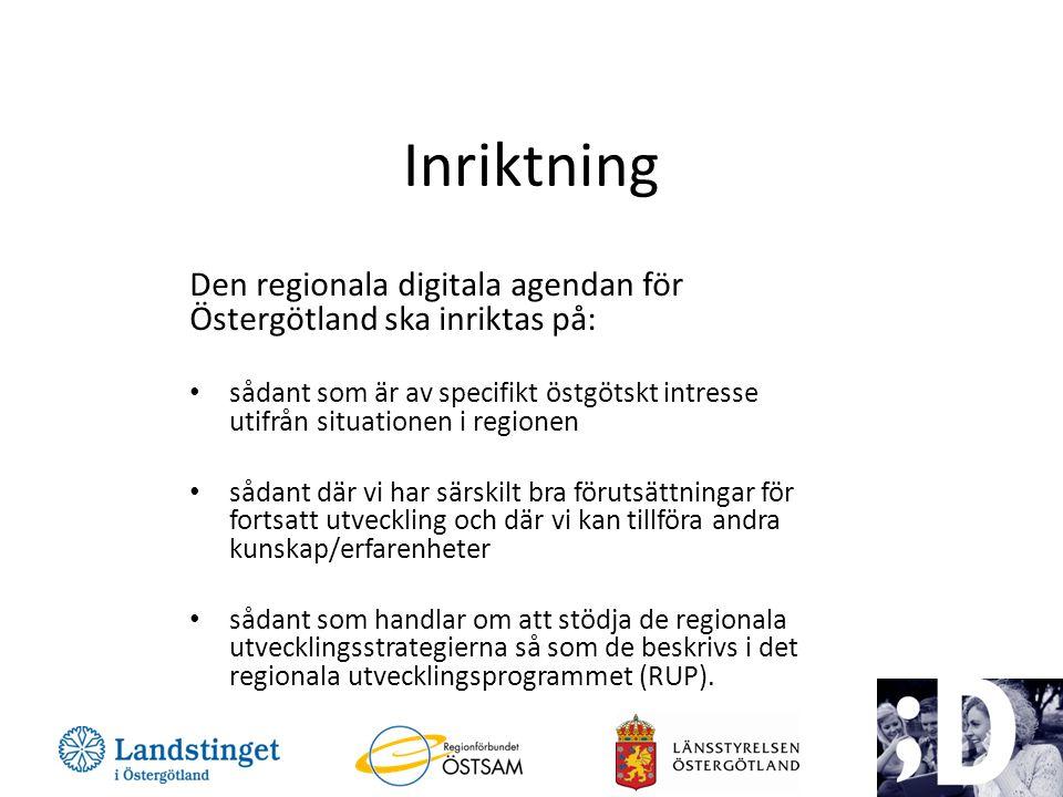 Inriktning Den regionala digitala agendan för Östergötland ska inriktas på: