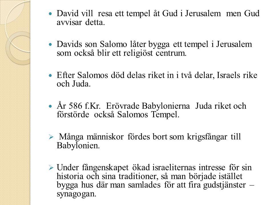 David vill resa ett tempel åt Gud i Jerusalem men Gud avvisar detta.