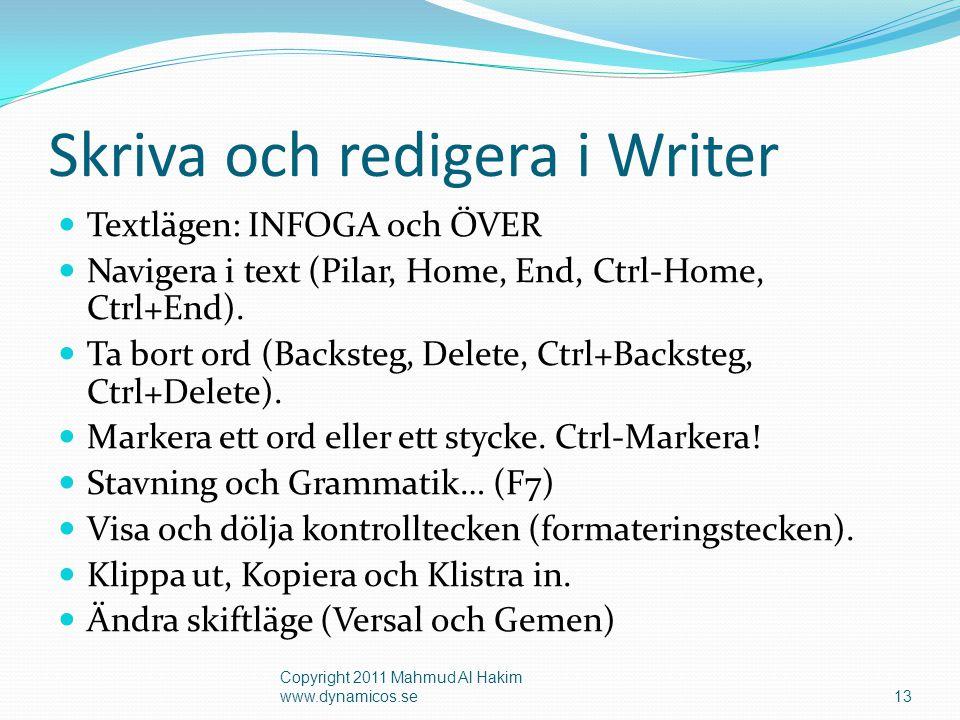 Skriva och redigera i Writer