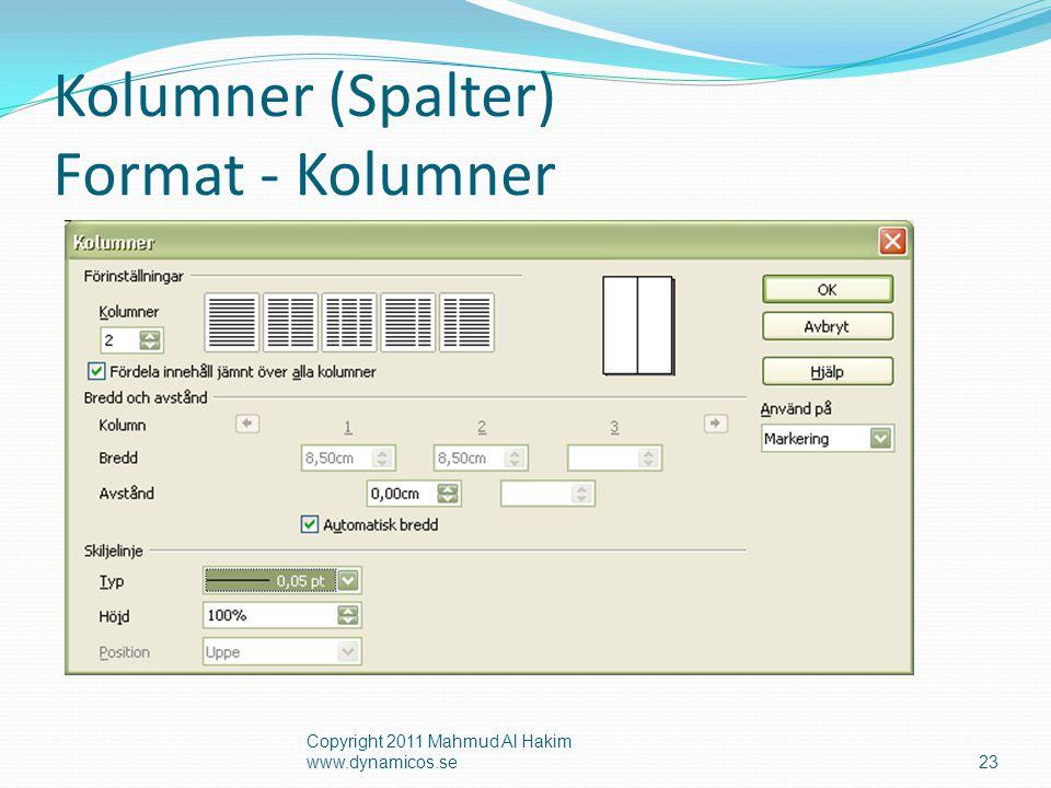 Kolumner (Spalter) Format - Kolumner