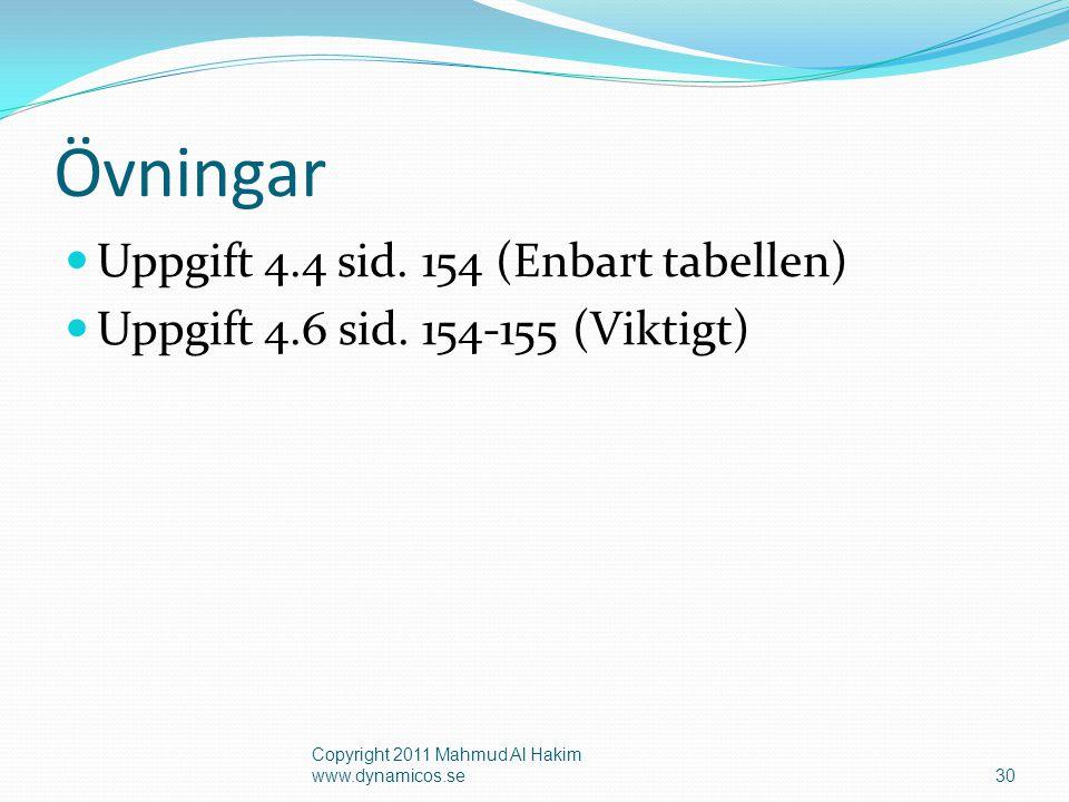 Övningar Uppgift 4.4 sid. 154 (Enbart tabellen)