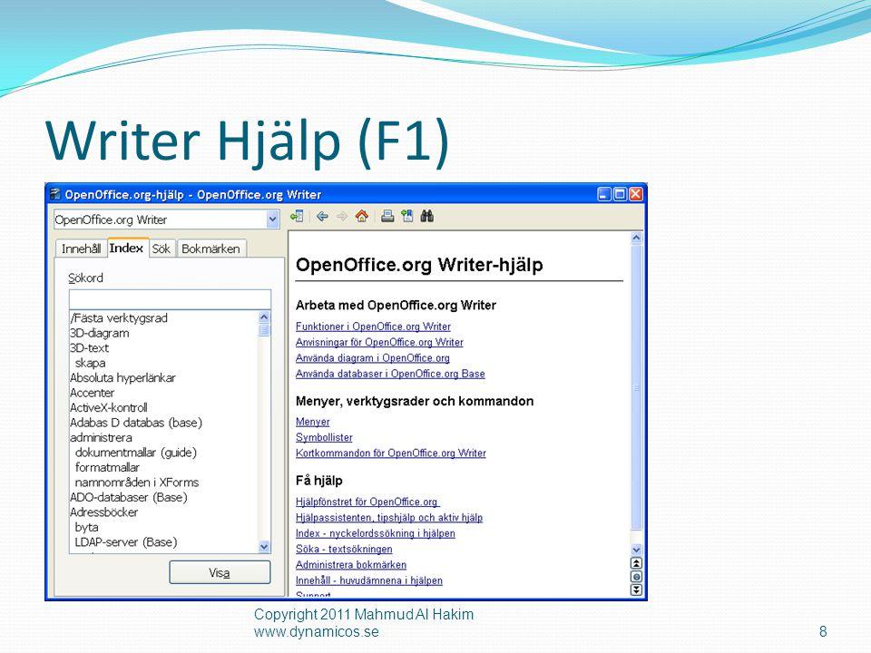 Writer Hjälp (F1) Copyright 2011 Mahmud Al Hakim www.dynamicos.se