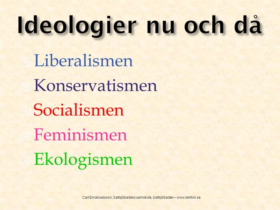 Ideologier nu och då Liberalismen Konservatismen Socialismen