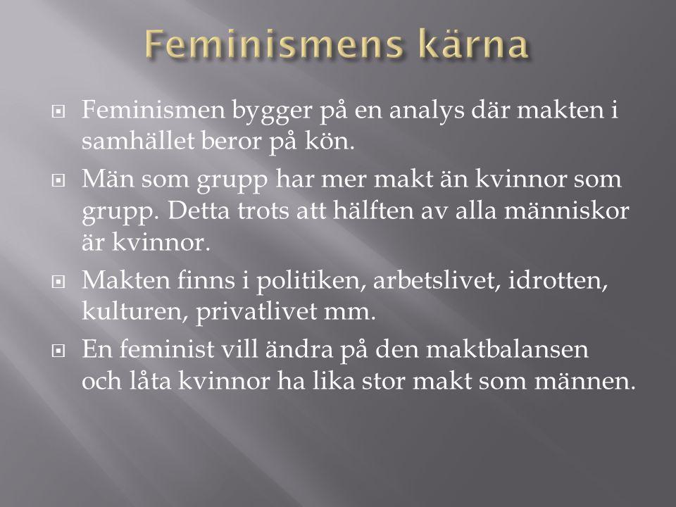 Feminismens kärna Feminismen bygger på en analys där makten i samhället beror på kön.