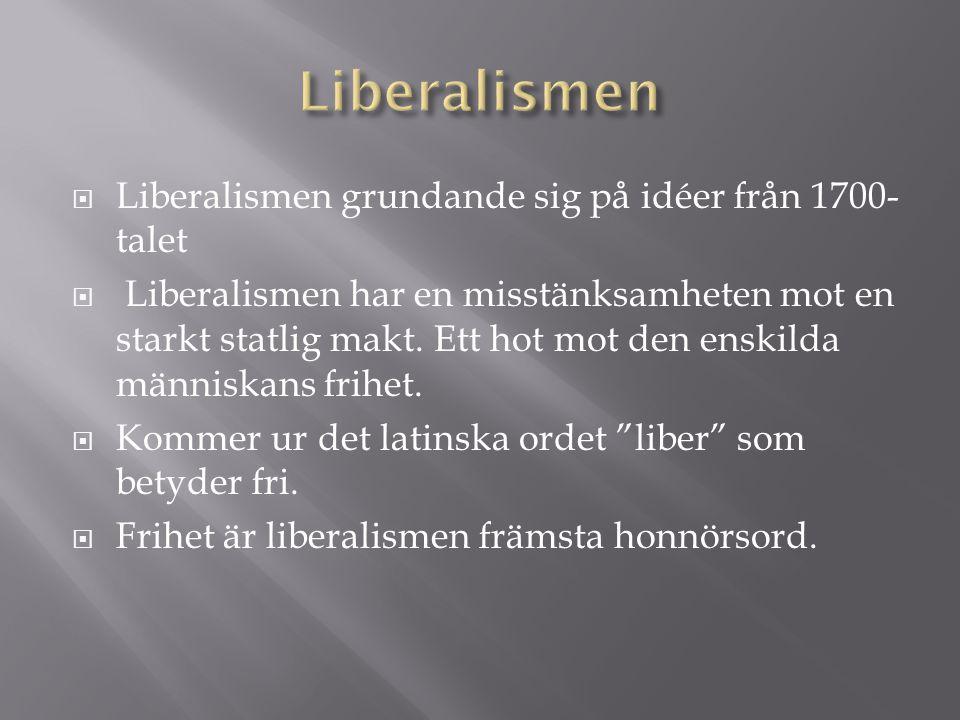 Liberalismen Liberalismen grundande sig på idéer från 1700-talet
