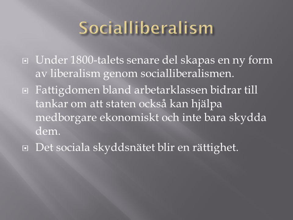 Socialliberalism Under 1800-talets senare del skapas en ny form av liberalism genom socialliberalismen.
