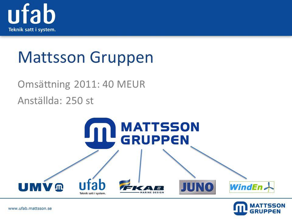 Mattsson Gruppen Omsättning 2011: 40 MEUR Anställda: 250 st