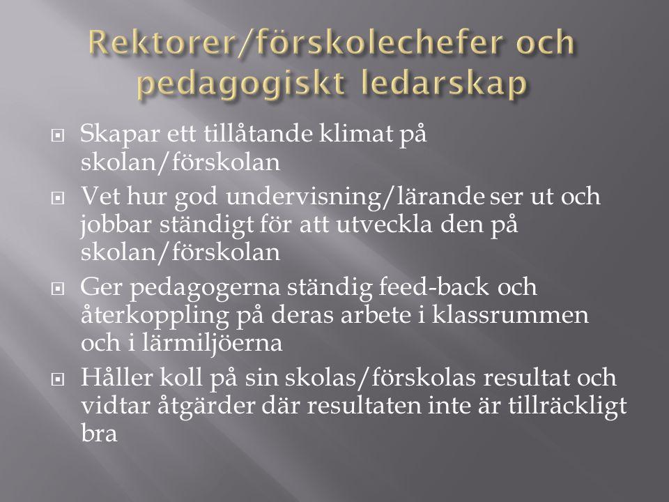 Rektorer/förskolechefer och pedagogiskt ledarskap