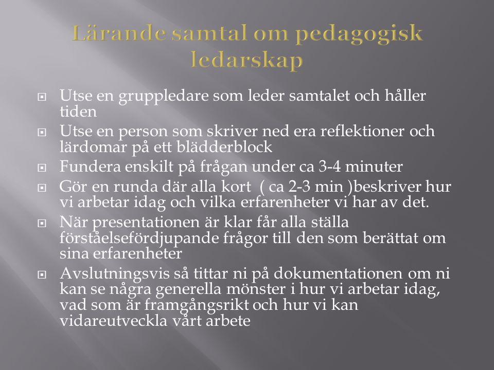 Lärande samtal om pedagogisk ledarskap