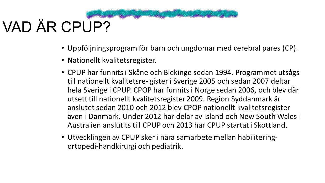 VAD ÄR CPUP Uppföljningsprogram för barn och ungdomar med cerebral pares (CP). Nationellt kvalitetsregister.
