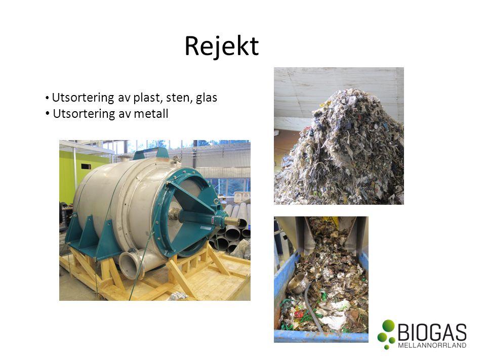 Rejekt Utsortering av plast, sten, glas Utsortering av metall