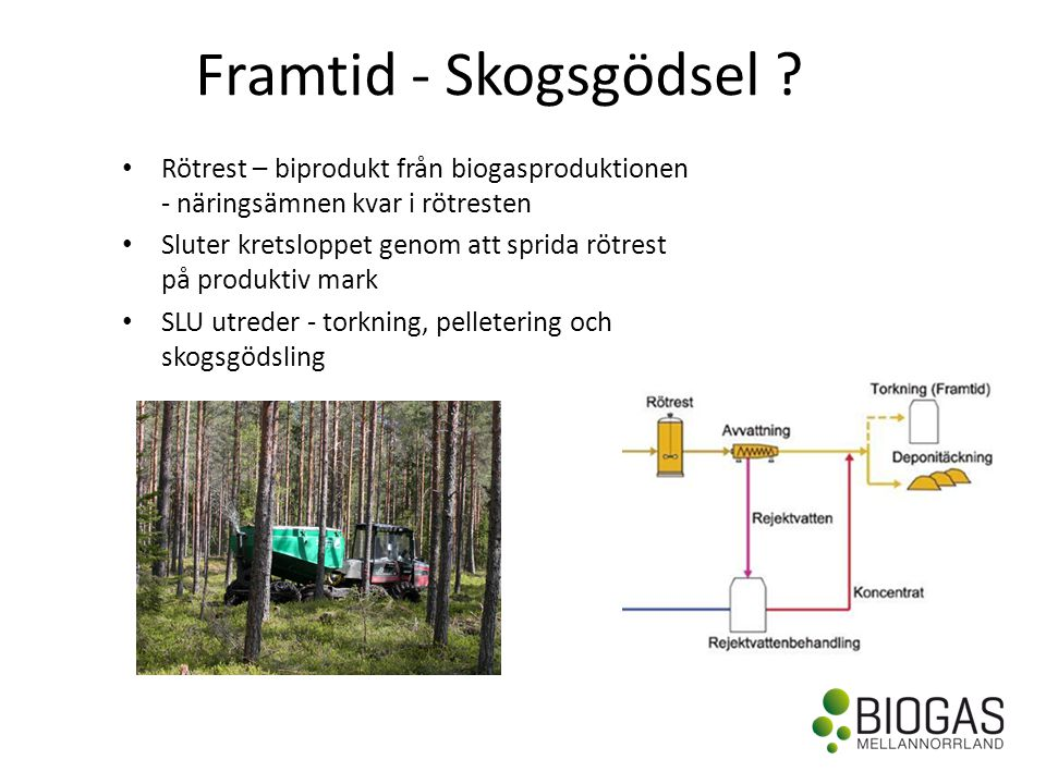 Framtid - Skogsgödsel Rötrest – biprodukt från biogasproduktionen - näringsämnen kvar i rötresten.
