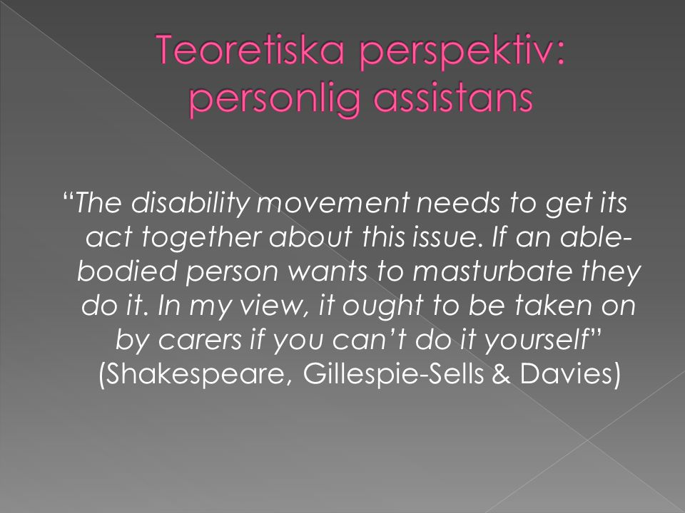 Teoretiska perspektiv: personlig assistans