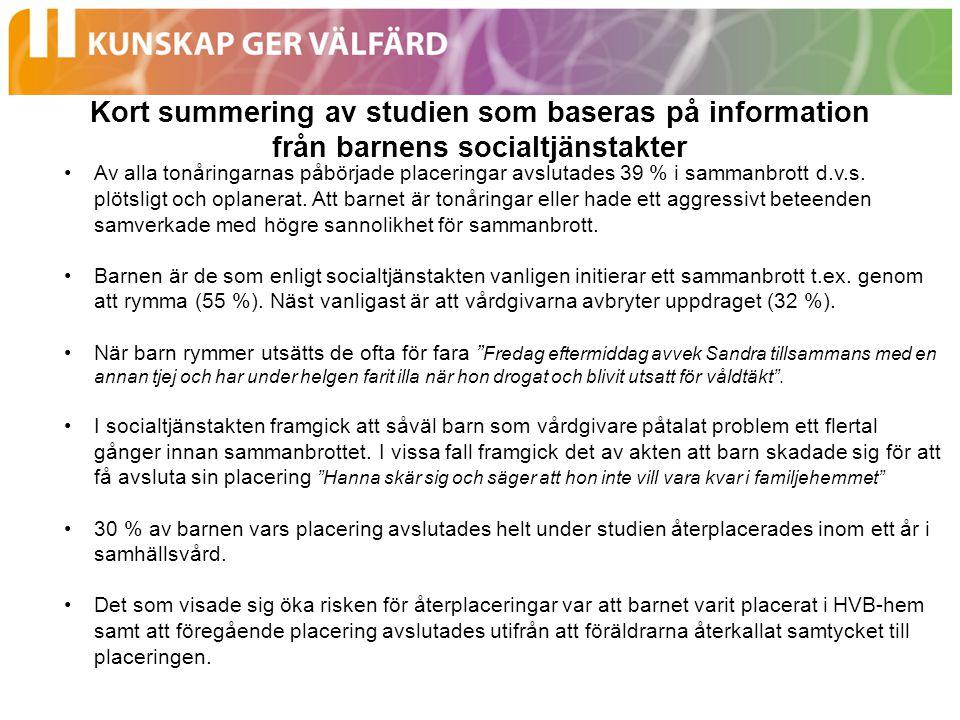 Kort summering av studien som baseras på information från barnens socialtjänstakter