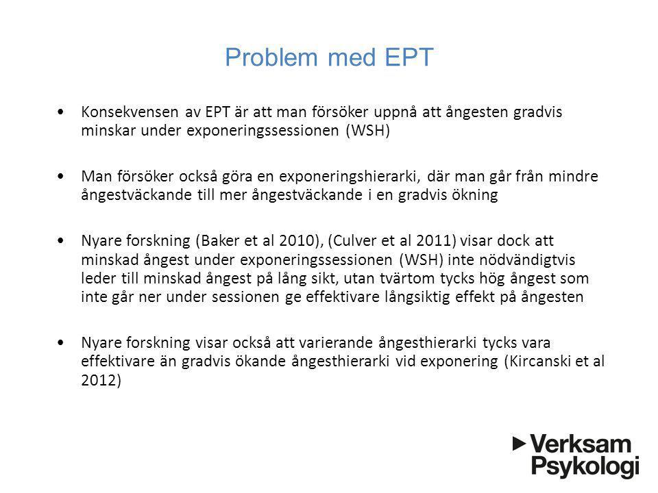 Problem med EPT Konsekvensen av EPT är att man försöker uppnå att ångesten gradvis minskar under exponeringssessionen (WSH)