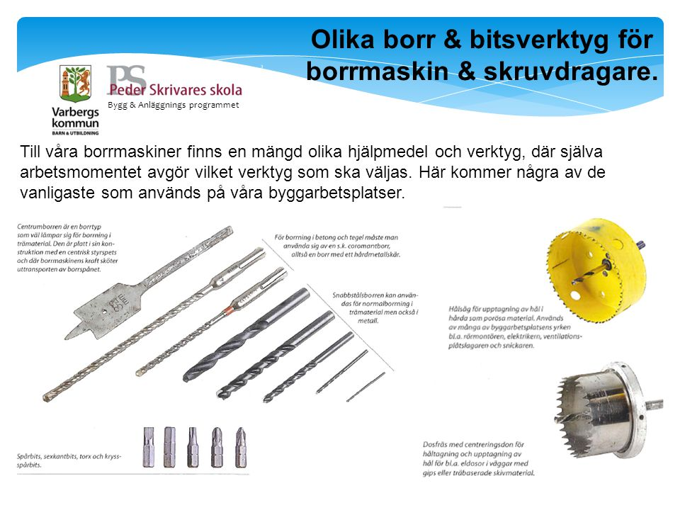 Olika borr & bitsverktyg för borrmaskin & skruvdragare.