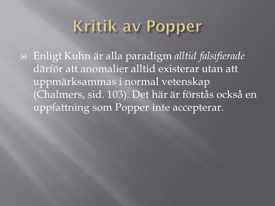 Kritik av Popper