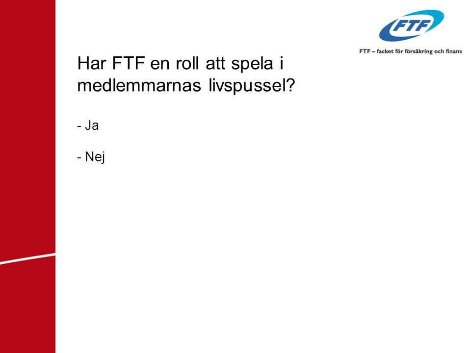 Har FTF en roll att spela i medlemmarnas livspussel - Ja - Nej