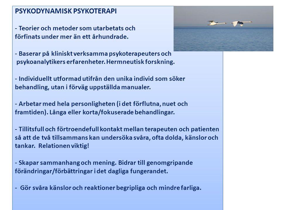 PSYKODYNAMISK PSYKOTERAPI - Teorier och metoder som utarbetats och förfinats under mer än ett århundrade.