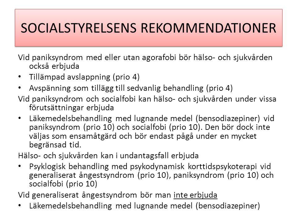 SOCIALSTYRELSENS REKOMMENDATIONER
