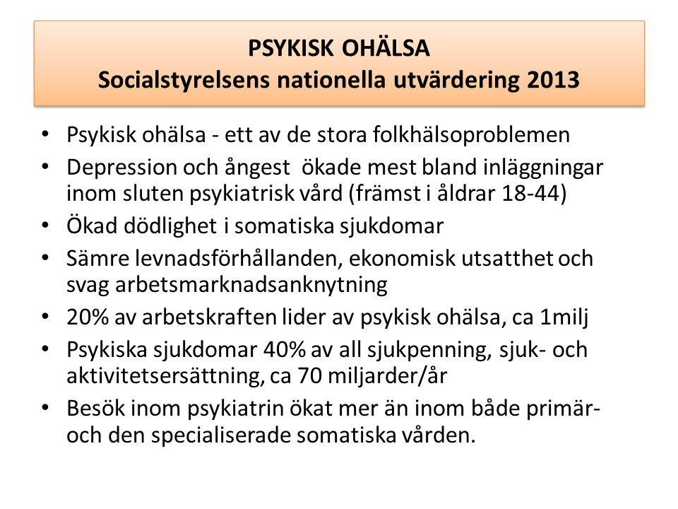 PSYKISK OHÄLSA Socialstyrelsens nationella utvärdering 2013