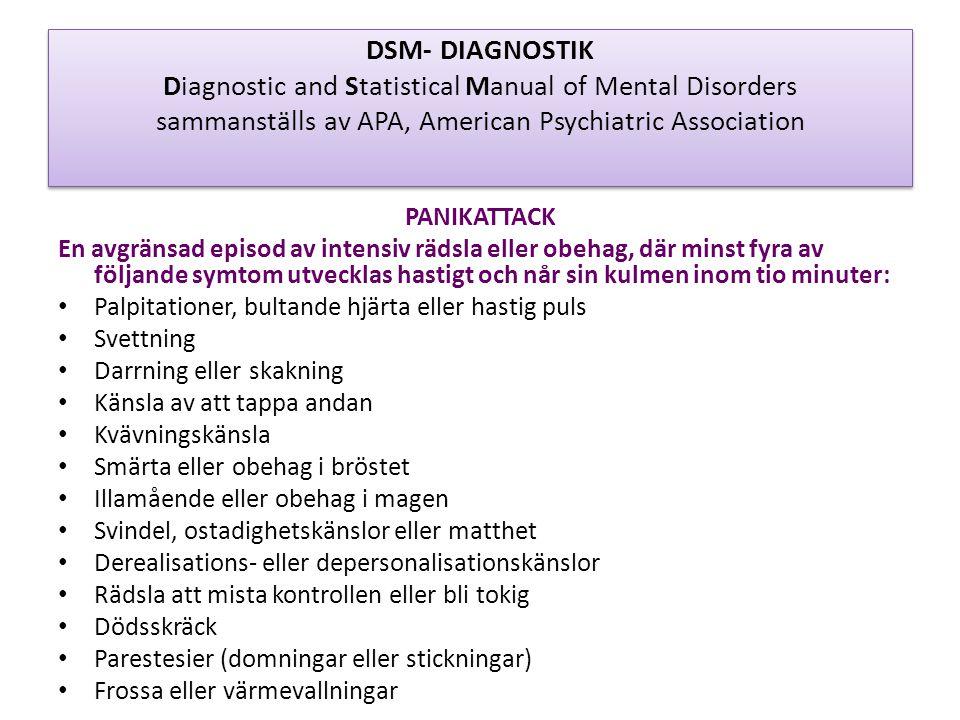 DSM- DIAGNOSTIK Diagnostic and Statistical Manual of Mental Disorders sammanställs av APA, American Psychiatric Association