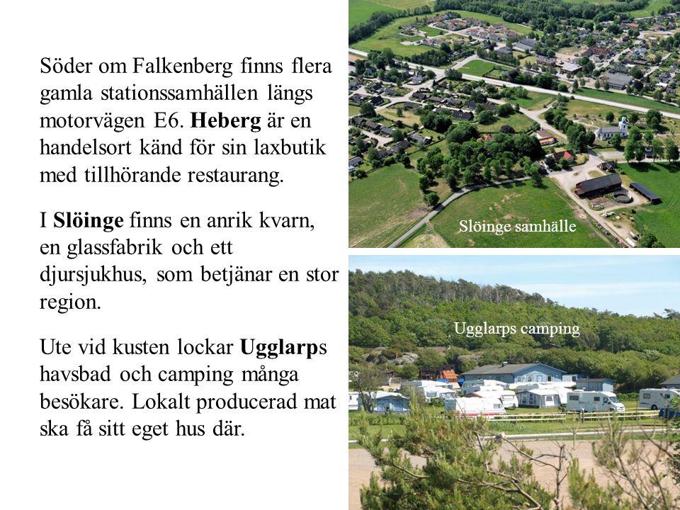 Söder om Falkenberg finns flera gamla stationssamhällen längs motorvägen E6. Heberg är en handelsort känd för sin laxbutik med tillhörande restaurang.
