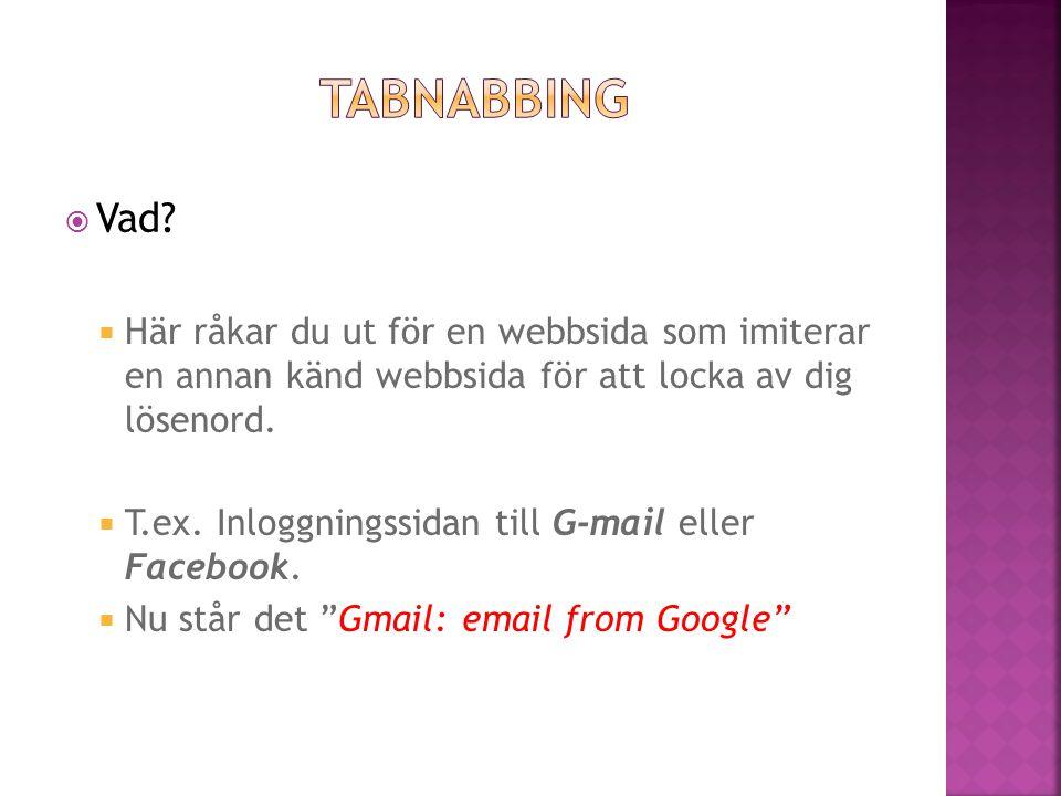 Tabnabbing Vad Här råkar du ut för en webbsida som imiterar en annan känd webbsida för att locka av dig lösenord.