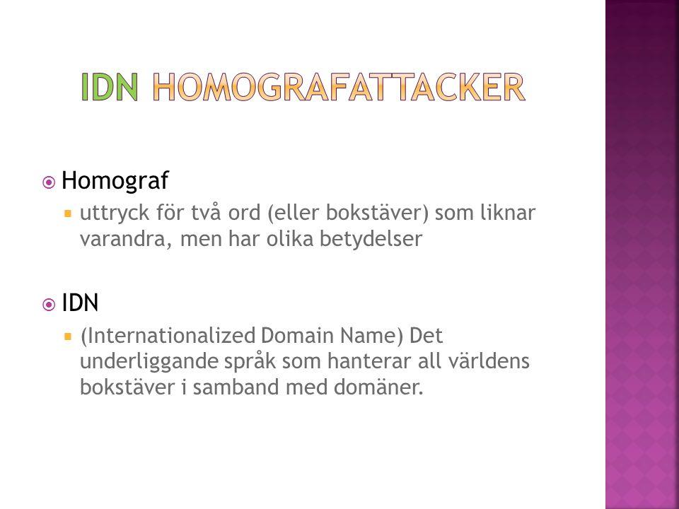 IDN Homografattacker Homograf IDN