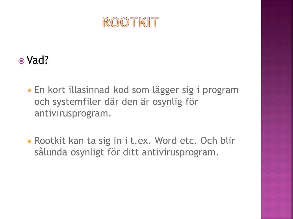 Rootkit Vad En kort illasinnad kod som lägger sig i program och systemfiler där den är osynlig för antivirusprogram.