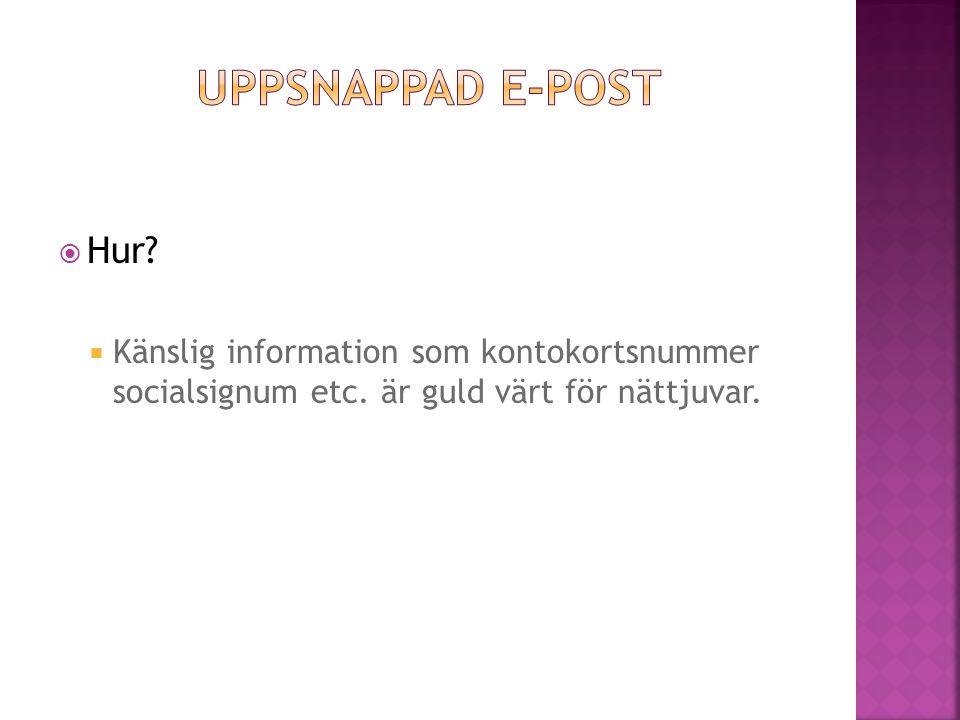 Uppsnappad e-post Hur. Känslig information som kontokortsnummer socialsignum etc.