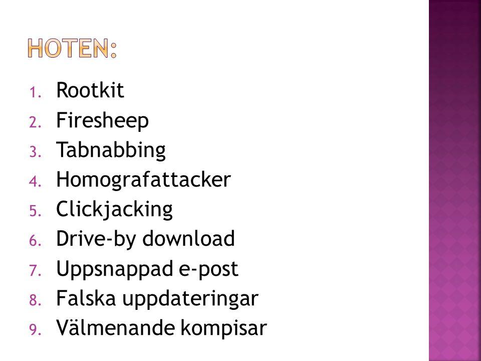 Hoten: Rootkit Firesheep Tabnabbing Homografattacker Clickjacking