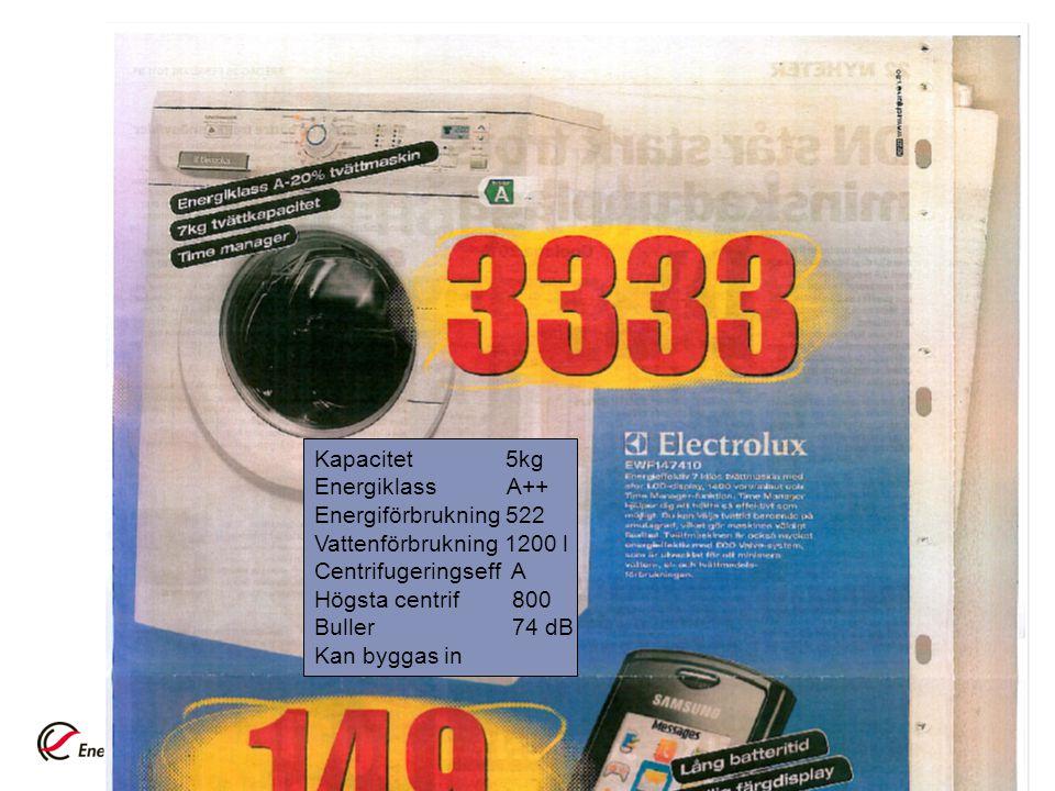 Kapacitet 5kg Energiklass A++ Energiförbrukning 522. Vattenförbrukning 1200 l.