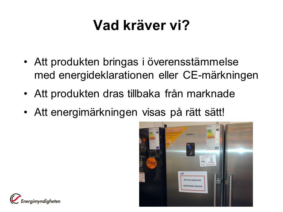 Vad kräver vi Att produkten bringas i överensstämmelse med energideklarationen eller CE-märkningen.