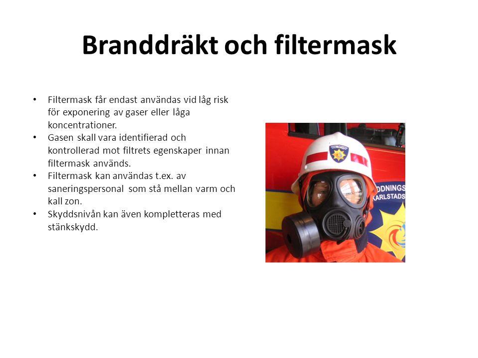Branddräkt och filtermask