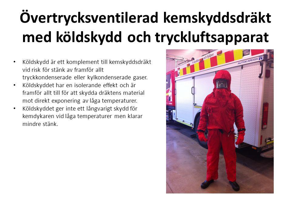Övertrycksventilerad kemskyddsdräkt med köldskydd och tryckluftsapparat
