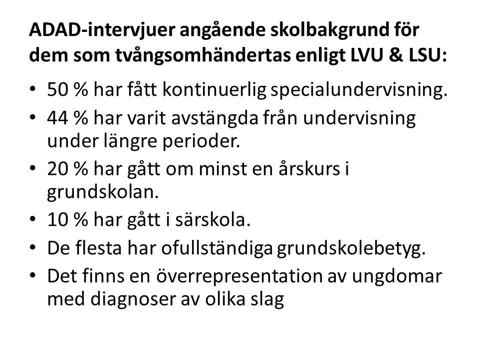 ADAD-intervjuer angående skolbakgrund för