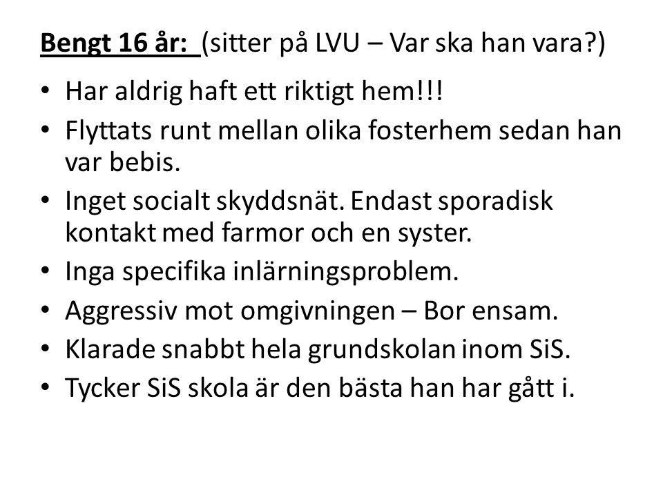 Bengt 16 år: (sitter på LVU – Var ska han vara )