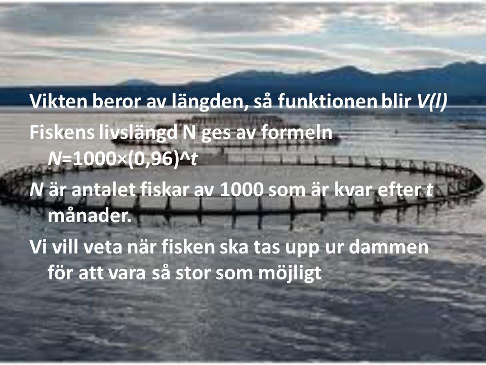 Vikten beror av längden, så funktionen blir V(l) Fiskens livslängd N ges av formeln N=1000×(0,96)^t N är antalet fiskar av 1000 som är kvar efter t månader.