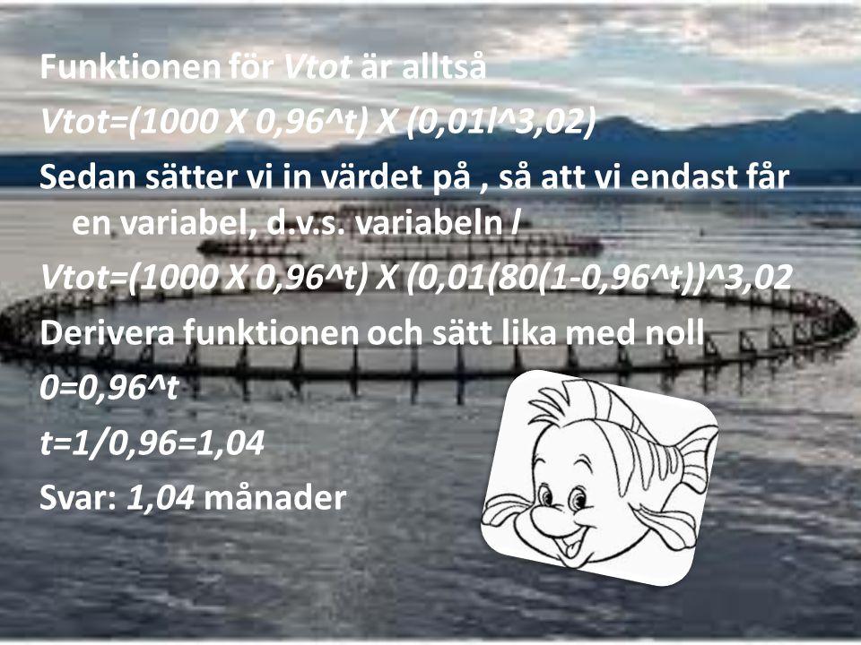 Funktionen för Vtot är alltså Vtot=(1000 X 0,96^t) X (0,01l^3,02) Sedan sätter vi in värdet på , så att vi endast får en variabel, d.v.s.