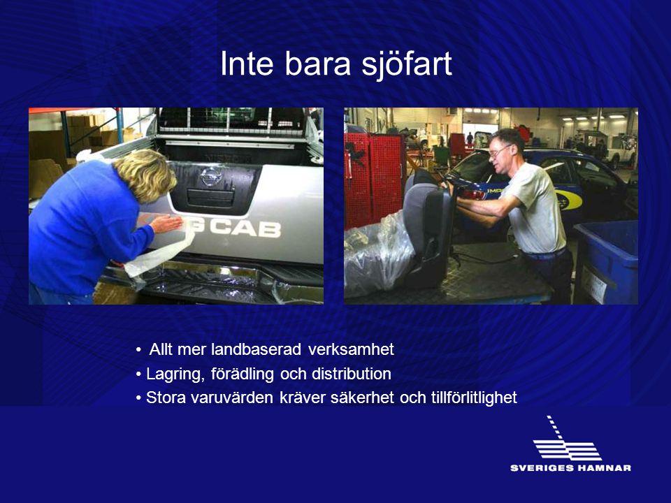 Inte bara sjöfart (VERKSAMHETEN) Hamnföretagen har ett brett utbud av tjänster, som även inkluderar lagring, förädling och distribution.