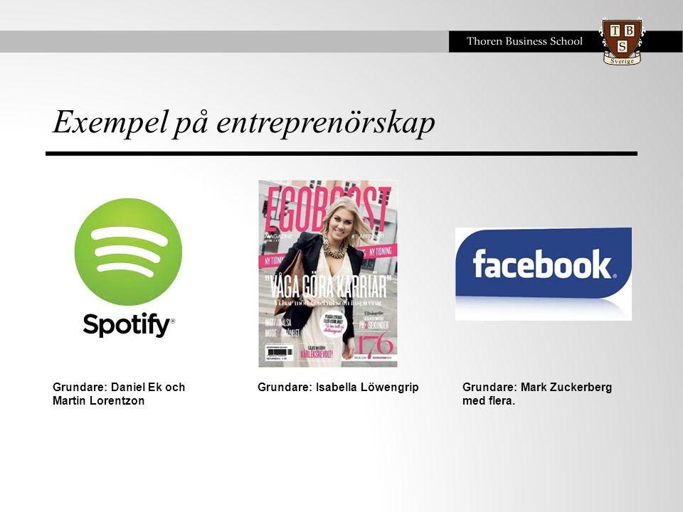 Exempel på entreprenörskap