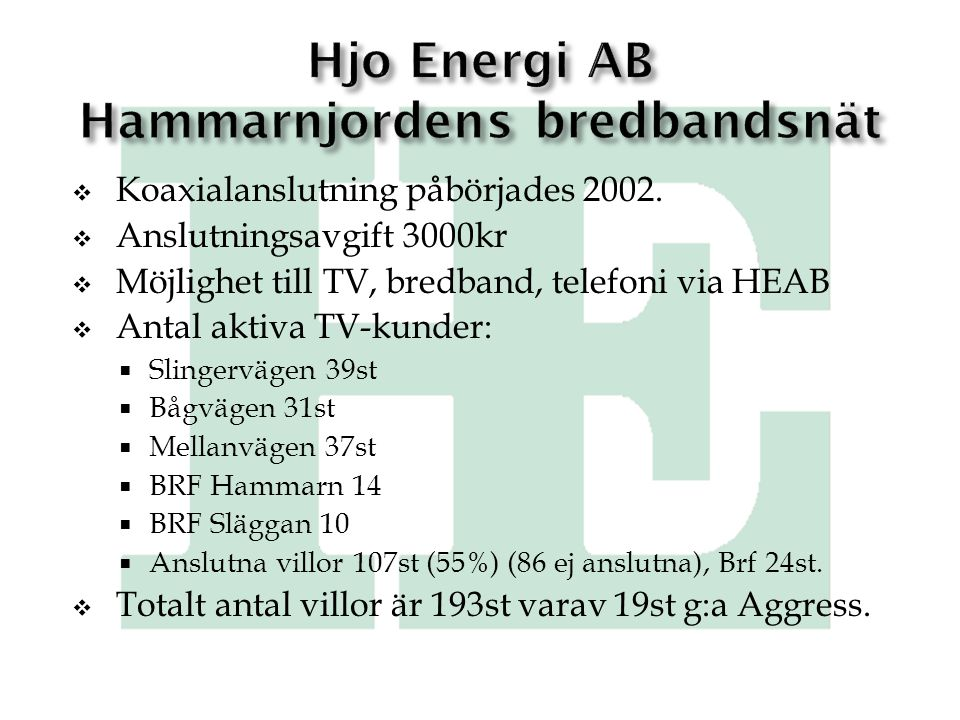 Hjo Energi AB Hammarnjordens bredbandsnät