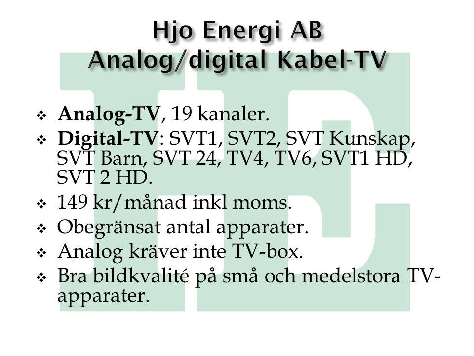 Hjo Energi AB Analog/digital Kabel-TV